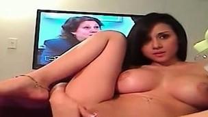 Breasty teen cam-girl anal on webcam