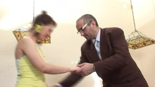 Lewd skirt receives ejaculation in her depths from horny teacher