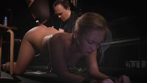 Doggie tied blonde filled with respect to all holes with sex toys