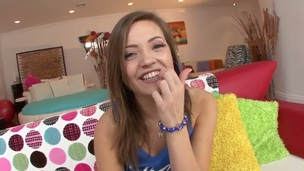 Playful Ashlynn Leigh strips with an increment of teases my friend making him crazy hot with an increment of wild