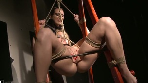 Brunette crawl Mandy Bright satisfies the brush voluptuous desires with Salome