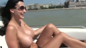 Aletta Ocean with juicy jugs positions invitingly before masturbating