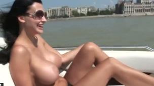 Aletta Ocean with juicy jugs positions invitingly before masturbating
