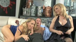 Britney Young brought her boyfriend home, but this bosom cant find any privace as her mother Nina Hartley is about to teach them how a ramrod should be sucked off.
