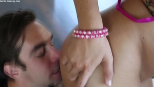 Restrained teen throated