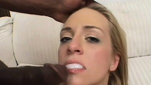 Petite and innocent blonde babe tries to take on 2 big cocks