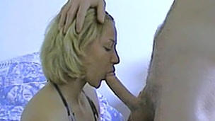 Hawt blonde cowgirl gets cum in her mouth after getting her face fucked hardcore