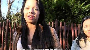 Stranded chicks hitchhikes together with enjoys public lovemaking orgy