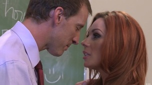Horny milf nigh chunky tits acquires bent over then fucked doggy style in a classroom