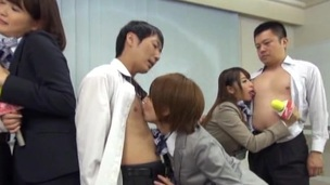 Japanese models in stockings gets steamy group sex after interview