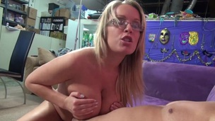 Jessica Moore rubs a dick with her big love melons and takes a ride primarily it