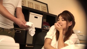 Alluring Asian dame in soaked t-shirt displaying her asshole in resolve up shoot