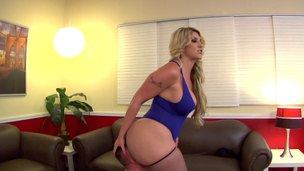 Chubby blonde MILF Kelli wishes for this dudes mouth