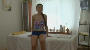Youthful darling is getting a steamy hawt body massage