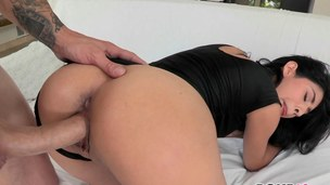 Brunette hair porn star gets her dismal Latin pussy smashed doggystyle