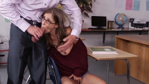 Tony DeSergio and his lovely students Presley Hart remain alone in the classroom