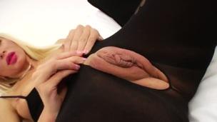 Blonde tramp Maya E makes her licentious fantasies cum true in solo scene