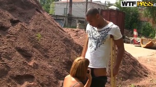 Her boyfriend wanted to take he for a walk in the nature but slutty babe Tata jammed in the all of a add up to of the road and began to give him a biggest deep blowjob, pleasing him.
