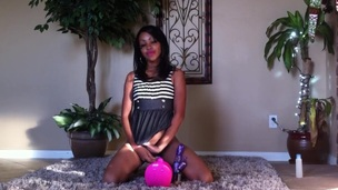 Diminutive Ebony Teen Orgasming On An obstacle Confound
